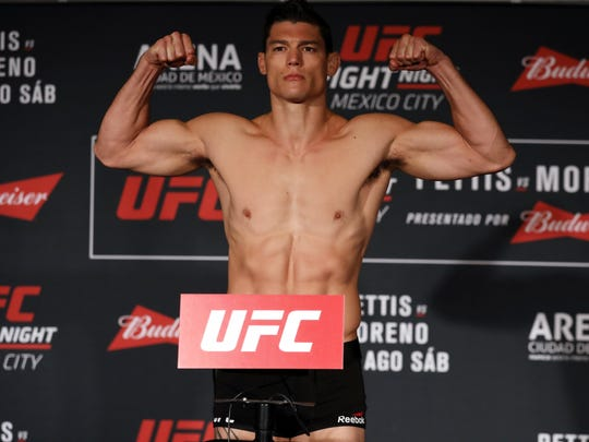Alan Jouban, a native of Lafayette, is shown at a weigh-in