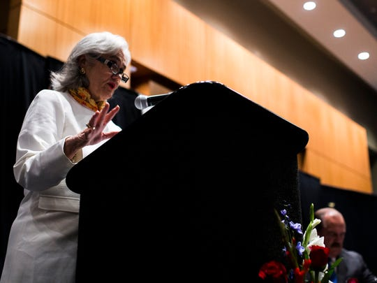 Cecilia Garcia Akers, president of the Dr. Hector P. Garcia Memorial Foundation, speaks during a birthday celebration luncheon for her father, the late Dr. Hector P. Garcia, on Wednesday, Jan. 17, 2018, at American Bank Center.