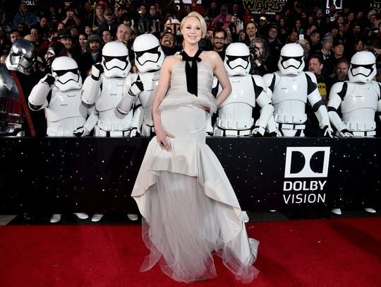 Gwendoline Christie poses with a posse of Stormtroopers