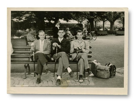 "From left: Paul Harman, Norm Vercoe, and Malcolm Severance pose in Geneva, Switzerland in 1948 while attending the ""Marshall Plan in Action,"" a University of Vermont-sponsored study-abroad program that focused on post-World War II economic recovery."