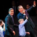 """George Clooney and Tom Hanks have some fun during the encore for """"An Evening of SeriousFun Celebrating the Legacy of Paul Newman,"""" hosted by the SeriousFun Children's Network on March 2 in New York. The network provides opportunities for fun for children with serious illnesses around the world."""