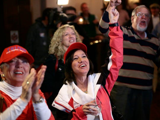 Supporters erupt in celebration as Fox News calls Florida for Donald Trump during the Republican Party election watch gathering at the Horse & Barrel Bourbon House in Downtown.