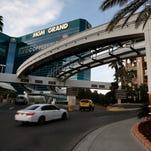 Cars drive into the Bellagio hotel and casino in Las Vegas.