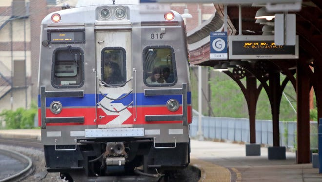 A Septa train traveling to Philadelphia leaves the Wilmington Train Station.