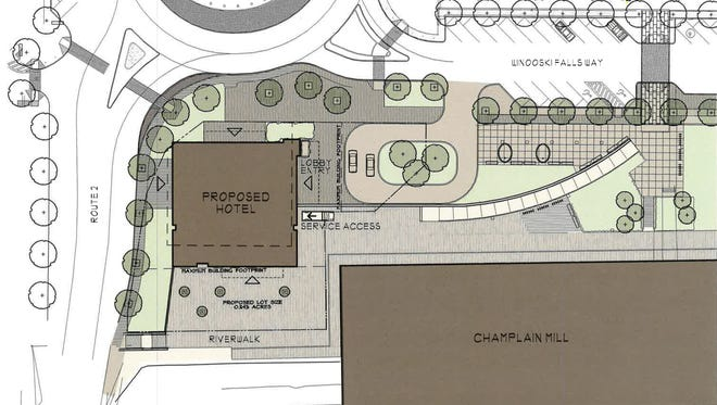 A proposed 60-70 room independent hotel on the Winooski rotary is pictured in documents submitted to the city.