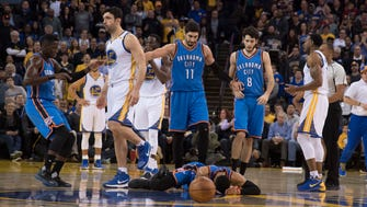 Zaza Pachulia was assessed a flagrant foul-1 for his hit on Russell Westbrook.
