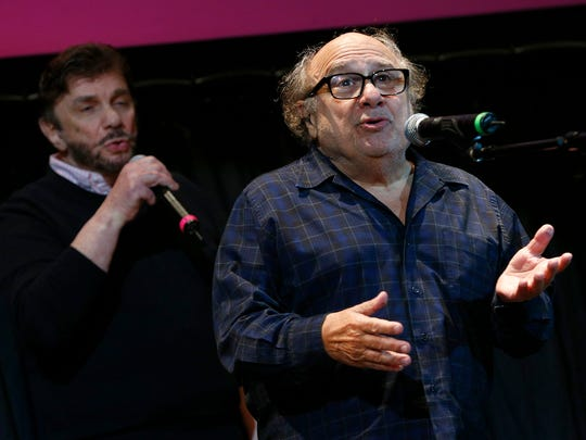 Actor and Asbury Park native Danny DeVito sings with Nicky Addeo during his Asbury Park Music + Film Festival show at the Paramount Theater in Asbury Park Saturday, April 28, 2108.