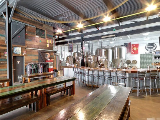 Interior of Ellison Brewery + Spirits in East Lansing.