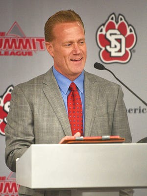 USD men's basketball coach Todd Lee speaks at a press conference Friday, April 6, in Vermillion.