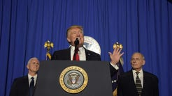 President Donald Trump addressing Department of Homeland Security employees.