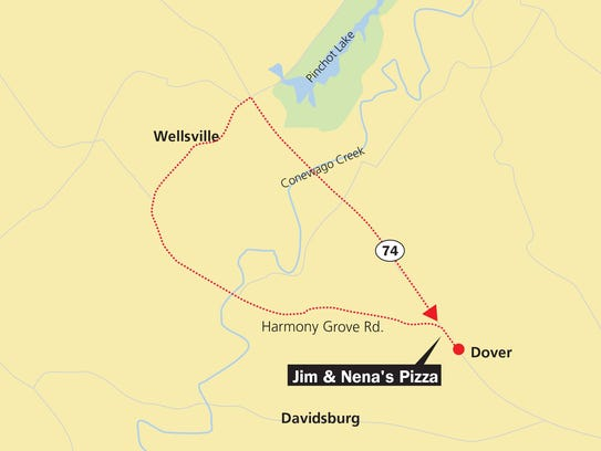 Start at Jim & Nena's Pizza in Dover and take Harmony
