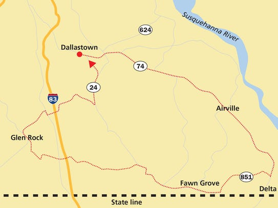 Start in Dallastown and take Route 74 down to Delta.