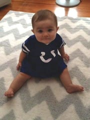 Emerson Linehan, 10 months, is a Colts fan, for now.