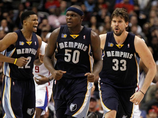 Memphis Grizzlies' from left, Rudy Gay, Zach Randolph