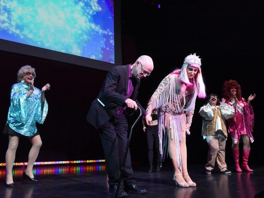 Outgoing Executive Director John Killacky takes a bow during the finale with Cher and members of The House of LeMay and other entertainers on the main stage at the Everybody Belongs: A Celebration Honoring John Killacky at the Flynn Center for the Performing Arts in Burlington on Tuesday, June 26, 2018.