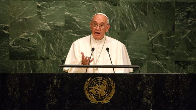 Pope Francis delivers an address to the General Assembly of the United Nations on Sept. 25, 2015 in New York City.