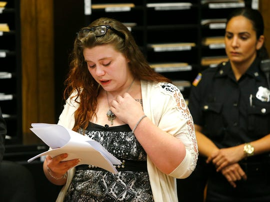 "Katelyn Kagan speaks during the sentencing of Edward G. Koloski during his sentencing hearing in State Superior Court in Paterson Thursday, June 23, 2016.   He had earlier pled guilty to vehicular homicide, leaving the scene of a crash that results in death, and dwi in the accident that kiiled her fiancee Javan ""Jay"" Robinson in Rockaway Township on Feb. 23, 2014."
