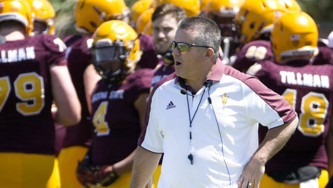 Arizona State University head coach Todd Graham coaches his team during the final spring practice at the Sun Devil Soccer Stadium in Tempe on April 16, 2016.