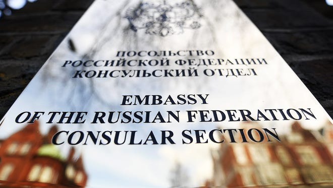 The door sign of the Russian Consulate in London, Britain, March 14, 2018.