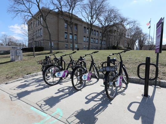 New Rochelle has launched a bike sharing program. Here, bikes for rent are pictured near City Hall on North Avenue, March 14, 2018.