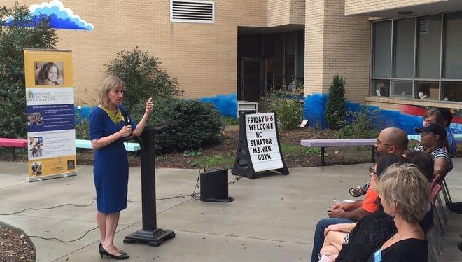 Sen. Terry Van Duyn, D-Buncombe, speaks on education issues at Hall Fletcher Elementary School Friday.