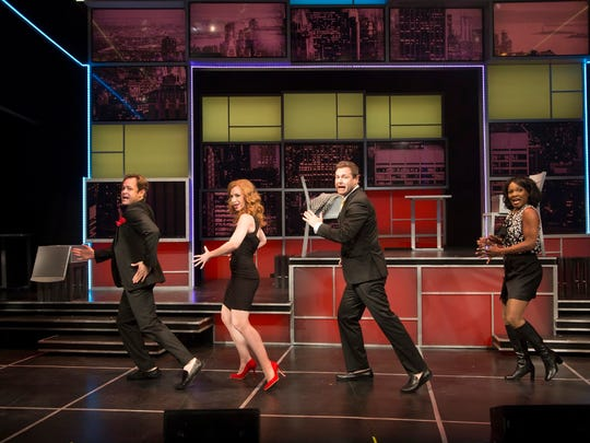 """Mitchell Jarvis, Lindsay Nicole Chambers, George Merrick and Karen Burthwright star in """"I Love You, You're Perfect, Now Change"""" at George Street Playhouse's new facility at 103 College Farm Road in New Brunswick. The show runs from Oct. 10 to Nov. 12."""