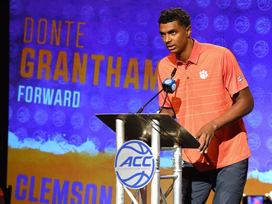 Clemson forward Donte Grantham answers questions during a news conference at the 2017 ACC Operation Basketball in Charlotte, N.C., Wednesday, October 25, 2017.
