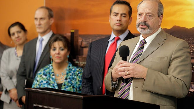 El Paso Mayor Oscar Leeser, along with City Manager Tommy Gonzalez and other city department heads, announce at a news conference that the city of El Paso's 2012 Quality of Life Bond program will begin to formally seek a firm to manage the construction and programming of the new $180 million Multi-Purpose Cultural and Performing Arts Center project.