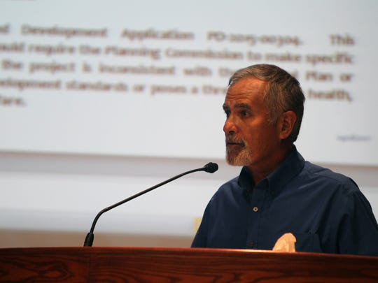 Charlie Harper, a member of Bethel Church's leadership team and project manager for the new campus, speaks Tuesday as the Redding Planning Commission weighs whether to approve the church's new campus.