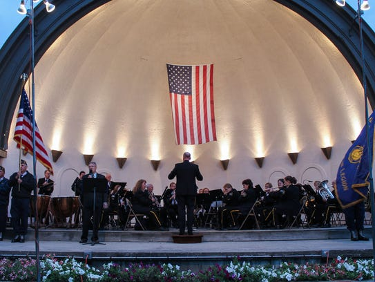 The Oconomowoc American Legion Band performs during