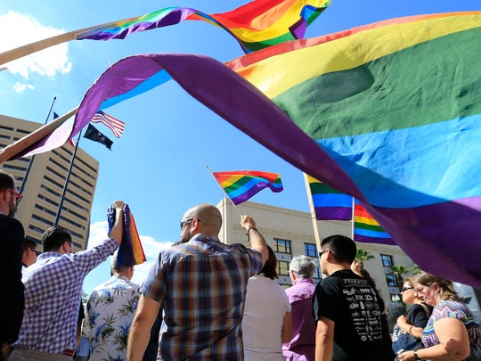El Pasoans along with elected officials and community leaders gathered in downtown El Paso to stand in solidarity with those affected by the mass killings in Orlando overnight.