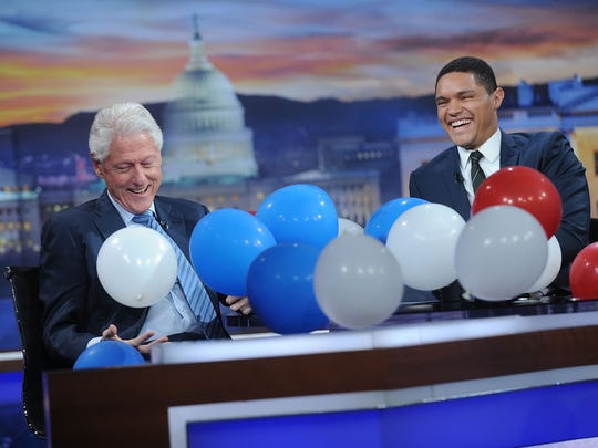 "Former President of the United States Bill Clinton (left) and Trevor Noah at a taping of ""The Daily Show with Trevor Noah"" on September 15."