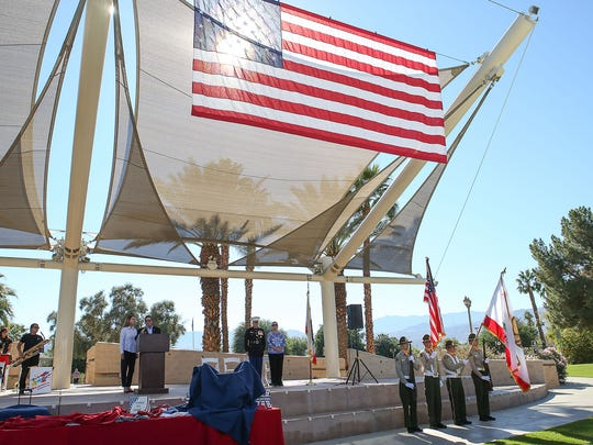 The colors are on display at the Veterans Day celebration at Palm Desert's Civic Center Park, November 11, 2016.