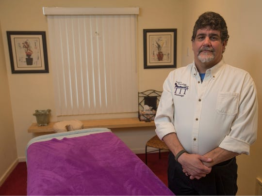 Tony Alfano, a licensed massage therapist, created his own business, Tony's Traveling Table Massage.