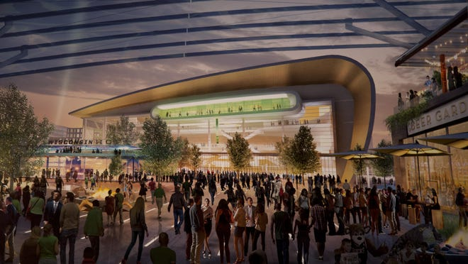 A rendering of the proposed new Milwaukee Bucks arena is shown during a news conference in April.