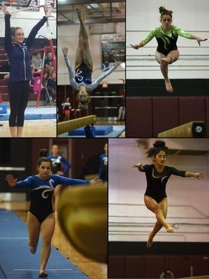 The All-North Jersey gymnastics first team (clockwise, from top left): Maya Horowitz, Maggie Kaczmarczyk, Samantha Marion, Mika Tamura and Melissa Ricciardi.