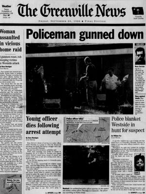 The front page of The Greenville News on Sept. 20, 1996.