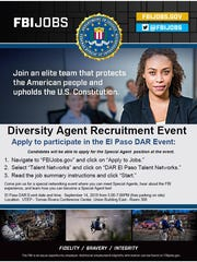 The FBI's Diversity Agent Recruitment event will be held from 5 to 7 p.m. Sept. 14 at the University of Texas at El Paso's Tomas Rivera Conference Center.