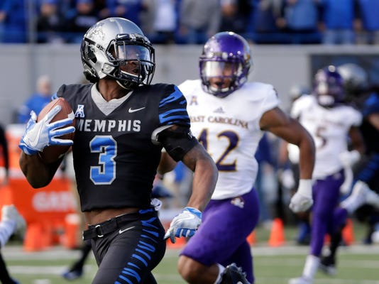 FILE - In this Nov. 25, 2017, file photo, Memphis wide receiver Anthony Miller (3) heads for a touchdown against East Carolina in the first half of an NCAA college football game in Memphis, Tenn. Memphis plays Iowa State in the Liberty Bowl on Saturday, Dec. 30. (AP Photo/Mark Humphrey, File)