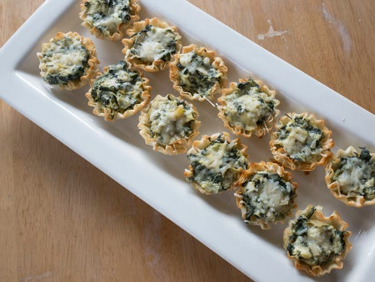 Bite-Sized Spinach, Asiago and Artichoke Phyllo Cups.
