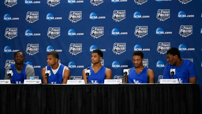 Kentucky Wildcats (from left) forward Julius Randle and guard Aaron Harrison and guard Andrew Harrison and forward James Young and center Dakari Johnson during a news conference.