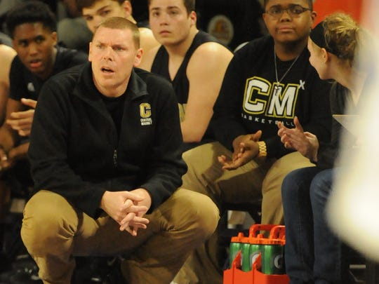 Central Magnet boys basketball coach Doug Worsley watches during his team's Region 4-AA loss to Macon County.
