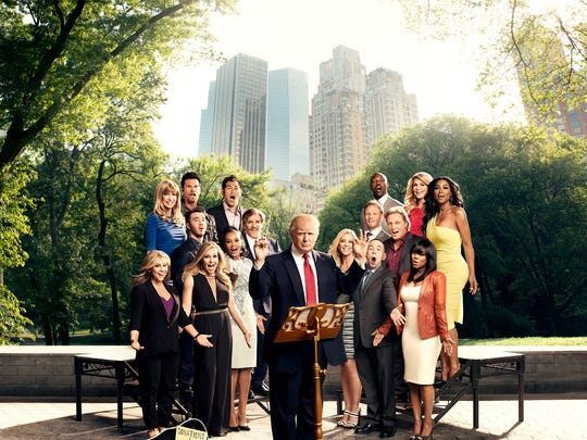 The Celebrity Apprentice, Season 14, includes (left to right) Shawn Johnson, Leeza Gibbons, Lorenzo Lamas, Kevin Jonas, Jamie Anderson, Johnny Damon, Vivica A. Fox, Geraldo Rivera, Donald Trump, Kate Gosselin, Ian Ziering, Terrell Owens, Gilbert Gottfried, Sig Hansen, Brandi Glanville, Keisha Knight Pulliam, Kenya Moore -- (Photo by: Art Streiber/NBC)