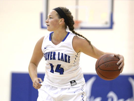 Silver Lake College senior guard Amanda Kudick looks