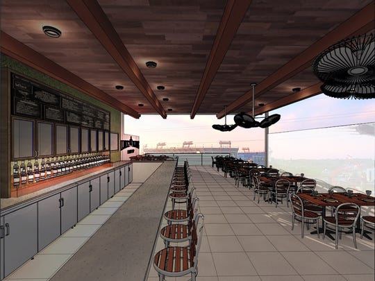 A rendering of the 3,000-square-foot rooftop terrace planned at Almost Famous