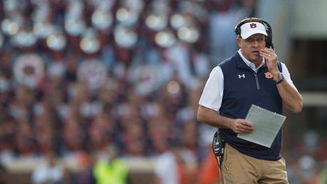Auburn head coach Gus Malzahn talks during the NCAA football game between Auburn and Clemson on Saturday, Sept. 9, 2017, in Clemson N.C.