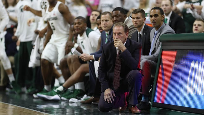 Michigan State coach Tom Izzo on the bench during action against Ferris State on MSU's 80-72 exhibition win over Ferris State on Thursday, Oct. 26, 2017, at Breslin Center.
