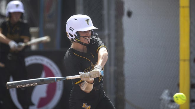 Louisa-Muscatine's Mallory Mashek at bat during the Girls State Softball Tournament semifinal game between Louisa-Muscatine and Ogden Wednesday in Fort Dodge.