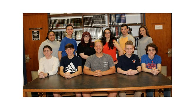 Millville High School's Students of the Month for March are: (back row, from left) Marissa Warren, science, Richard Rivera, physical education, Makenna Ash, art, Isabella Felice, and English, Helana Zeller, history; and (front row, from left) Dylan Permuy, business technology, Andrew Sooy, social studies, Nick Grotti, health, Zephaniah Rivera, music, and Ryan Bailey, world language.
