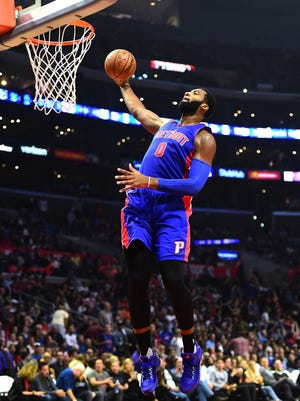 Pistons center Andre Drummond does a windmill dunk on a breakaway during the first half of the Pistons' 114-82 loss to the Clippers Monday in Los Angeles.